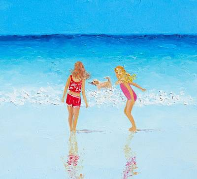 Children Playing On Beach Painting - Beach Painting Beach Play by Jan Matson