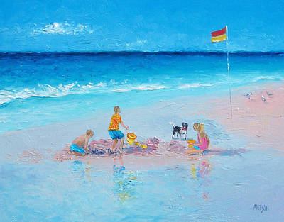 Children Playing On Beach Painting - Beach Painting Building Sandcastles By Jan Matson by Jan Matson