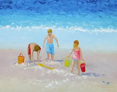 Children Playing On Beach Painting - Beach Painting - Sandcastles by Jan Matson