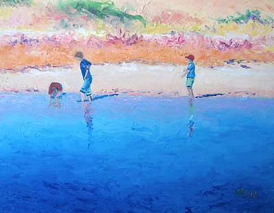 Children Playing On Beach Painting - Saturday Afternoon At The Beach by Jan Matson