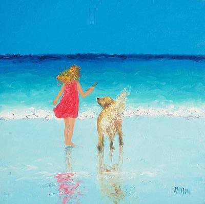 Whimsical Wall Art - Painting - Beach Painting 'sunkissed Hair'  by Jan Matson