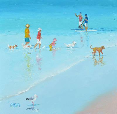 Beach House Decor Painting - Beach Painting 'the Dog Beach' By Jan Matson by Jan Matson