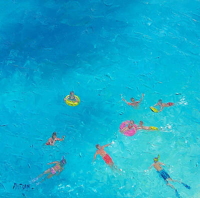 Kids Room Art Painting - Beach Painting 'the Swimmers'  By Jan Matson by Jan Matson
