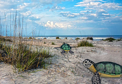 Turtle Digital Art - Beach Pals by Betsy Knapp