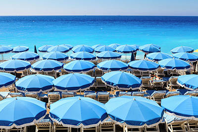 Blue Photograph - Beach Parasols, Nice by Fraser Hall