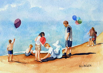 Party Scene Painting - Beach Party by Sandy Linden