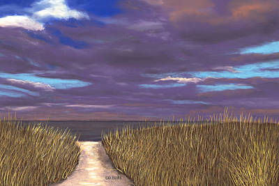 Pastel - Beach Path by George Burr