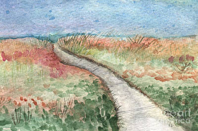 Library Painting - Beach Path by Linda Woods