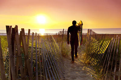 Sunrise At The Beach Photograph - Beach Picket Fences by Sean Davey