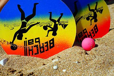 Beach Racket In Sand Original by Mark Davies