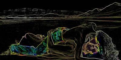 Beach Romance Man Ray Homage Art Print by Brian King