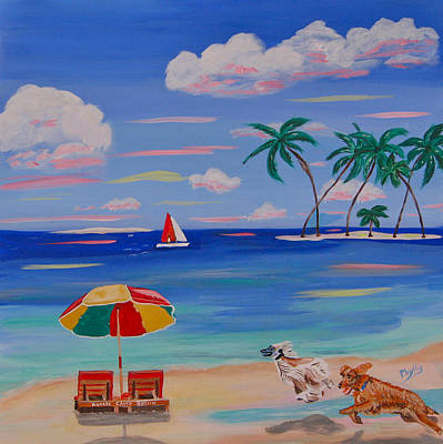 Painting - Beach Romp. by Phyllis Kaltenbach