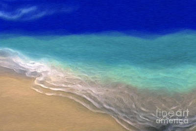 Beige Glass Painting - Beach Scene 7. Abstract Ocean Art by Mark Lawrence