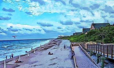 Vero Digital Art - Beach Scene Disney Resort by Richard Hemingway