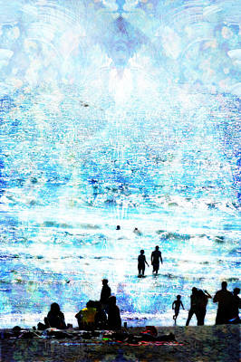 Beach Scene Expressions Art Print by John Fish