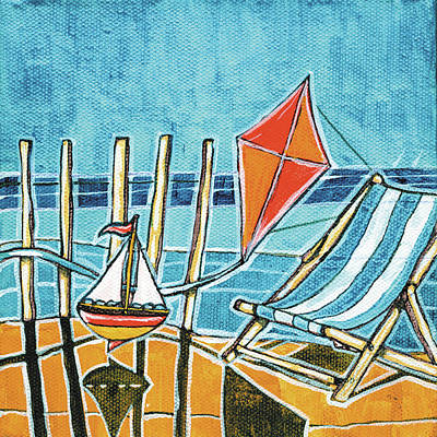 Kites Painting - Beach Scene I by Stuart Roy