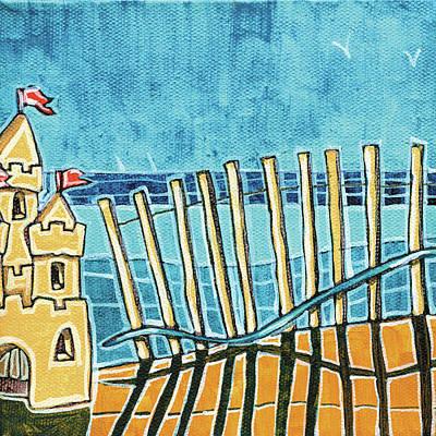 Sand Castles Painting - Beach Scene II by Stuart Roy