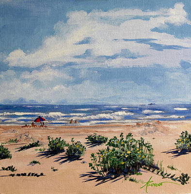 Beach Scene On Galveston Island Art Print