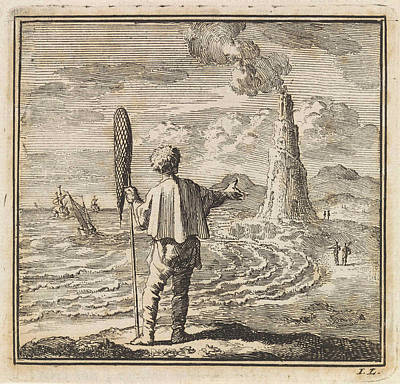 Lighthouse Drawing - Beach Scene With A Man Who Points To A Smoking Lighthouse by Jan Luyken And Wed. Pieter Arentsz & Cornelis Van Der Sys Ii