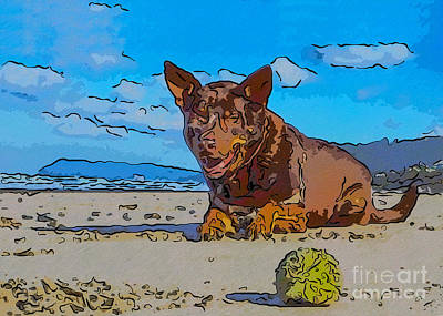 Buy Dog Art Mixed Media - Beach Scout Abstract Dog Art By Omaste Witkowski by Omaste Witkowski
