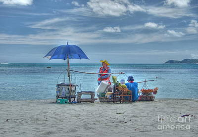Beach Sellers Art Print by Michelle Meenawong