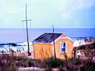 Sand Dunes Painting - Beach Shack At Nags Head by Elaine Plesser