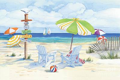 Pink Fence Painting - Beach Signs Adirondack Chairs by Paul Brent