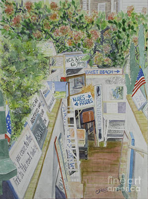 Art Print featuring the painting Beach Signs by Carol Flagg