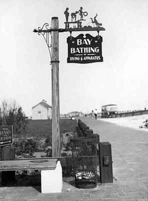 Island Beach State Park Photograph - Beach Signs In New York by Underwood Archives