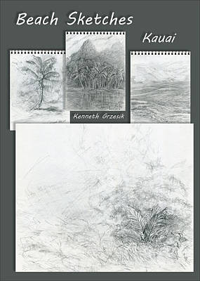 Beach Sketches Kauai Original by Kenneth Grzesik