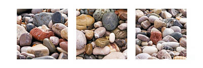 Beach Stones Triptych Art Print by Stelios Kleanthous