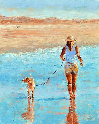 Lynee Sapere Wall Art - Painting - Beach Stroll by Lynee Sapere