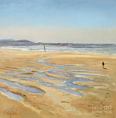 Dog Trots Painting - Beach Strollers  by Timothy  Easton