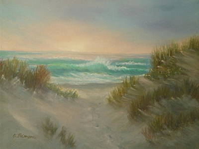 Painting - Cape Cod Beach Sunset Dunes Print  by Amber Palomares