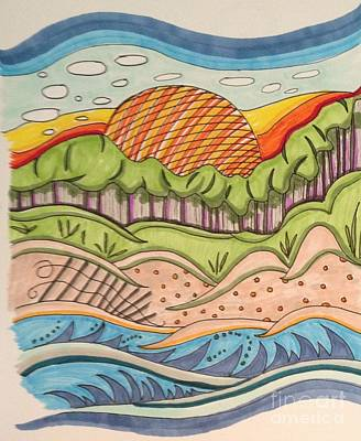 Beach Sunset Drawing - Beach Sunset by Karen Wilson