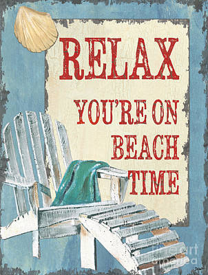 Coastal Quote Wall Art - Painting - Beach Time 1 by Debbie DeWitt