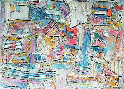 Hari E. Thomas Abstract Painting - Beach Town by Hari Thomas