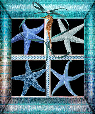 Digital Art - Starfish Beach Treasures by Debra  Miller