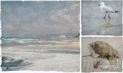 Beach Triptych 1 Art Print by Linda Lees