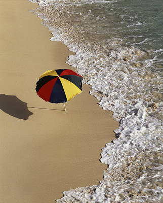 Beach-umbrella On Beach � Angelo Print by Tips Images