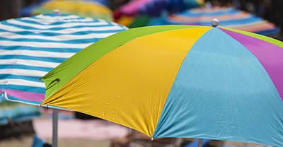 The Buffet Photograph - Beach Umbrella Rainbow 1 by Scott Campbell