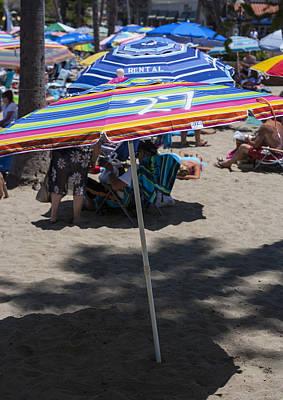 The Buffet Photograph - Beach Umbrella Rainbow 3 by Scott Campbell
