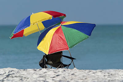 Beach Umbrellas Art Print by Gerald Marella
