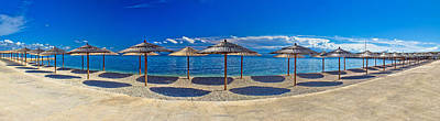 Photograph - Beach Umbrellas Panoramic View Vir Island by Brch Photography