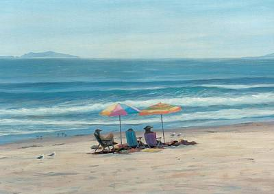 Sandpiper Drawing - Beach Umbrellas by Tina Obrien