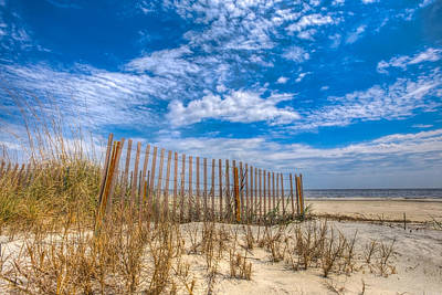 Beach Under Blue Skies Art Print by Debra and Dave Vanderlaan