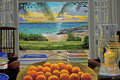 Oahu Painting - Beach View by Carey Chen