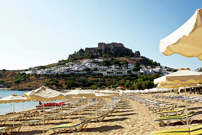 Photograph - Beach View Of Lindos by Lorraine Devon Wilke