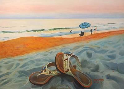 St. Augustine Florida Painting - Beach Walk by Caroline Conkin