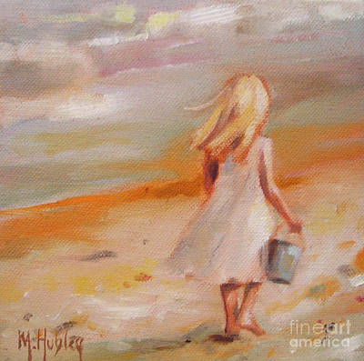 Little Girl On Beach Painting - Beach Walk Girl by Mary Hubley